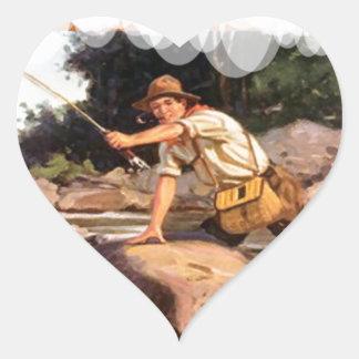 Fishing from the rocks heart sticker