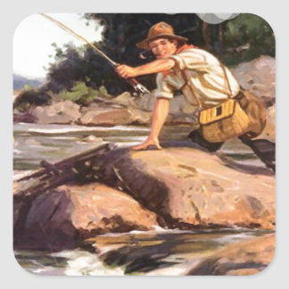 Fishing from the rocks square sticker