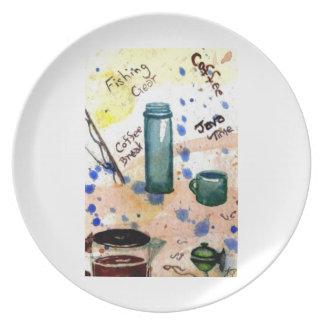 Fishing Gear - Coffee Break - Folk Art Dish Plate