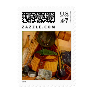 Fishing Gear Gone Fishing Fisherman Pole STAMPS