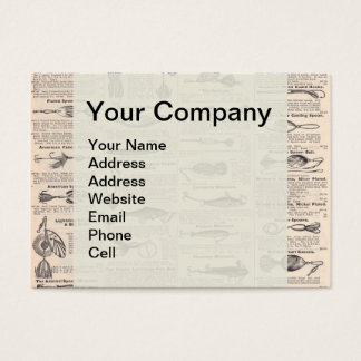 Fishing Gear Newsprint Vintage Advertising Business Card