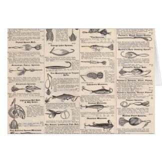 Fishing Gear Newsprint Vintage Advertising Card