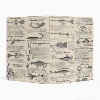 Fishing Gear Newsprint Vintage Advertising Mini Binder