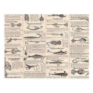 Fishing Gear Newsprint Vintage Advertising Postcard