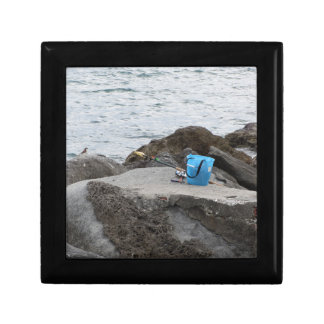 Fishing gear on the rock by the sea keepsake box