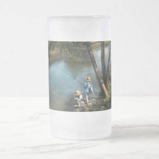 Fishing - Gone Fishin' - 1940 Frosted Glass Beer Mug