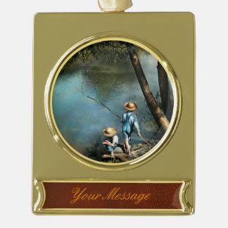 Fishing - Gone Fishin' - 1940 Gold Plated Banner Ornament