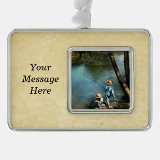 Fishing - Gone Fishin' - 1940 Silver Plated Framed Ornament