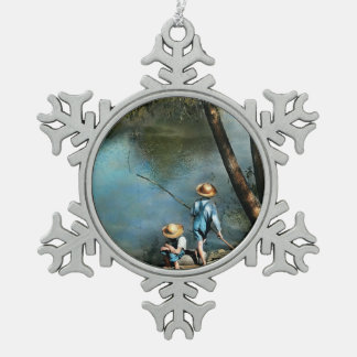Fishing - Gone Fishin' - 1940 Snowflake Pewter Christmas Ornament