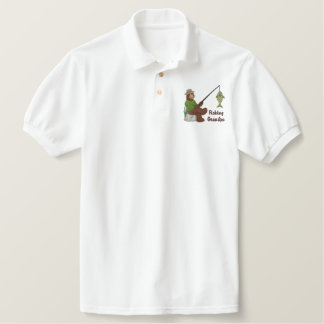 Fishing Grandpa Bear Embroidered Polo Shirt