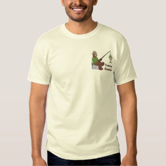 Fishing Grandpa Bear Embroidered T-Shirt