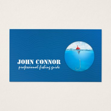 Professional Business Fishing Guide Service Blue Business Card