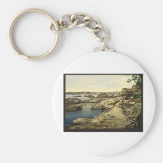 Fishing harbor Biarritz Pyrenees France Key Chain