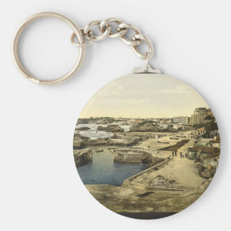 Fishing harbor Biarritz Pyrenees France Key Chains