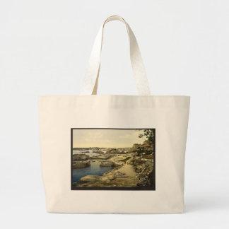 Fishing harbor, Biarritz, Pyrenees, France Large Tote Bag