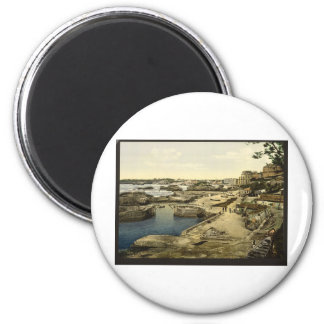Fishing harbor, Biarritz, Pyrenees, France 2 Inch Round Magnet