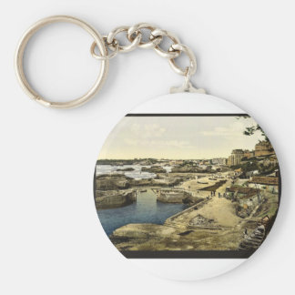 Fishing harbor Biarritz Pyrenees France vintage Key Chains