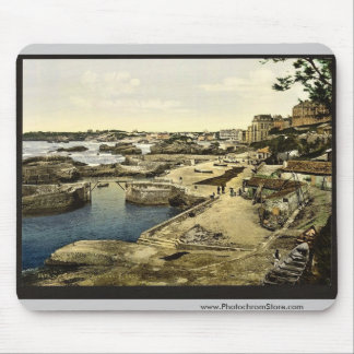 Fishing harbor, Biarritz, Pyrenees, France vintage Mouse Pad