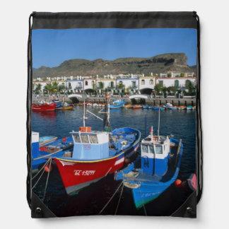 Fishing Harbor, Puerto de Mogan, Gran Canaria, Drawstring Backpack