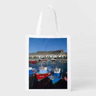 Fishing Harbor, Puerto de Mogan, Gran Canaria, Reusable Grocery Bags