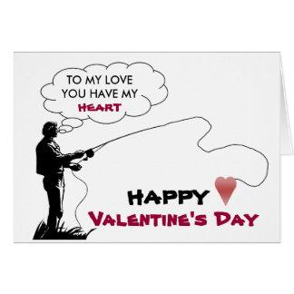 fishing, heart, TO MY LOVE, card