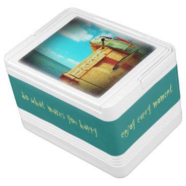 Beach Themed Fishing hook'd beach fish tackle box aqua drink cooler