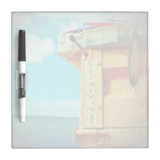 Fishing hook'd beach fish tackle box aqua dry erase board