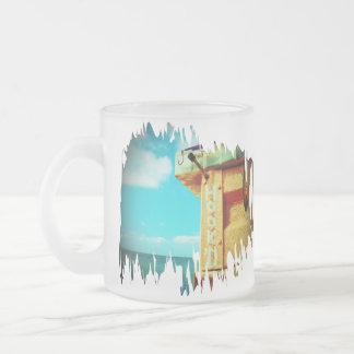 Fishing hook'd beach fish tackle box aqua frosted glass coffee mug