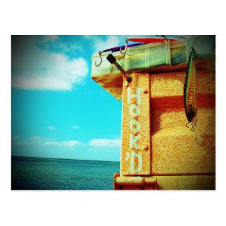 Fishing hook'd beach fish tackle box aqua postcard