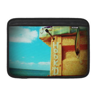 Fishing hook'd beach fish tackle box aqua sleeve for MacBook air