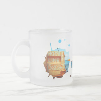 Fishing hook line seeya beach fish blue jetty pier frosted glass coffee mug