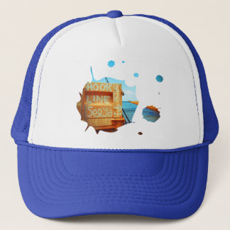 Fishing hook line seeya beach fish blue jetty pier trucker hat