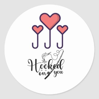 Fishing Hook on you for fisherman wedding Classic Round Sticker