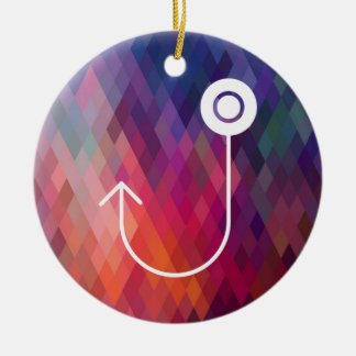 Fishing Hooks Minimal Double-Sided Ceramic Round Christmas Ornament