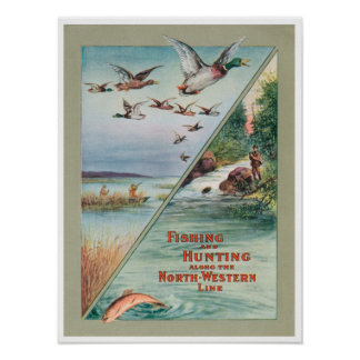 Fishing Hunting North Western Travel Ad Print Post