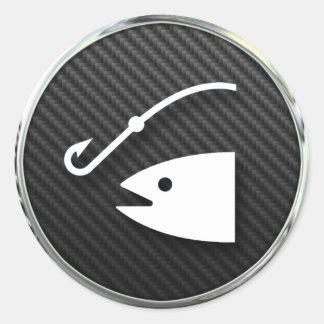Fishing Icon Classic Round Sticker