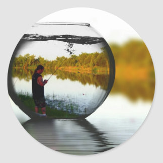 Fishing in a Fishbowl Classic Round Sticker