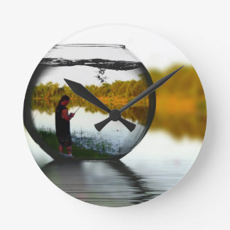 Fishing in a Fishbowl Round Clock