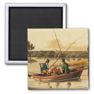 Fishing in a Punt, aquatinted by I. Clark, pub. by 2 Inch Square Magnet