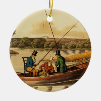 Fishing in a Punt, aquatinted by I. Clark, pub. by Ceramic Ornament