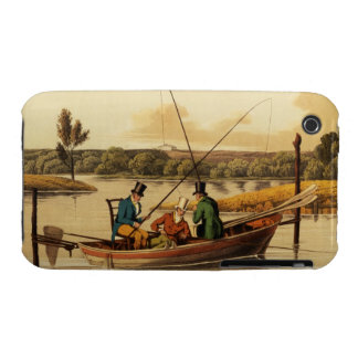 Fishing in a Punt, aquatinted by I. Clark, pub. by iPhone 3 Case-Mate Case