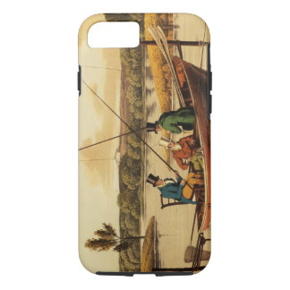Fishing in a Punt, aquatinted by I. Clark, pub. by iPhone 8/7 Case