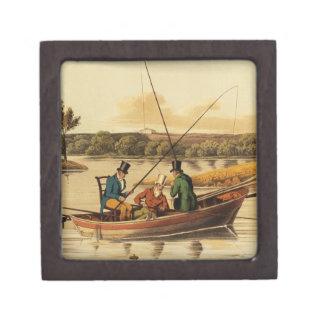 Fishing in a Punt, aquatinted by I. Clark, pub. by Keepsake Box