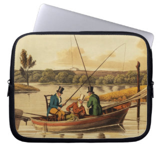 Fishing in a Punt, aquatinted by I. Clark, pub. by Computer Sleeve