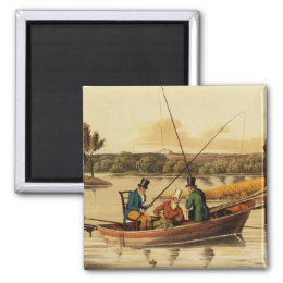 Fishing in a Punt, aquatinted by I. Clark, pub. by Magnet