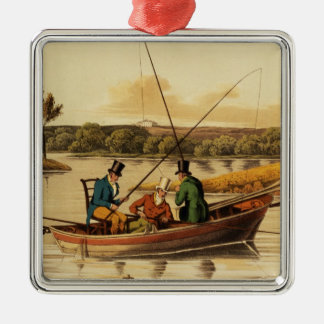 Fishing in a Punt, aquatinted by I. Clark, pub. by Metal Ornament