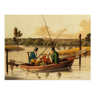 Fishing in a Punt, aquatinted by I. Clark, pub. by Postcard