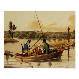 Fishing in a Punt, aquatinted by I. Clark, pub. by Poster