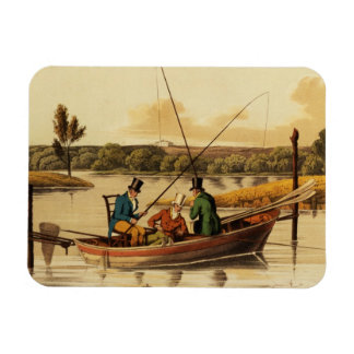 Fishing in a Punt, aquatinted by I. Clark, pub. by Rectangular Photo Magnet