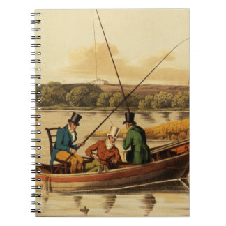 Fishing in a Punt, aquatinted by I. Clark, pub. by Spiral Note Book